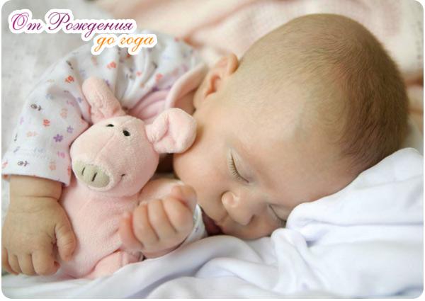 грудничок спит со своей любимой игрушкой