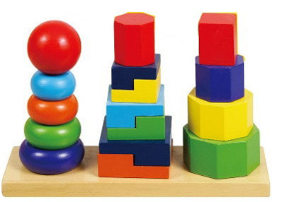 Игрушки цветные пирамидки