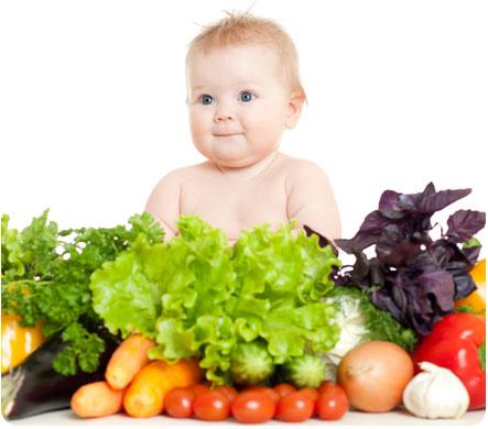 Малыш сидит среди различных овощей