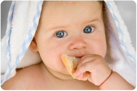 Малыш пытается разжевать корочку хлеба