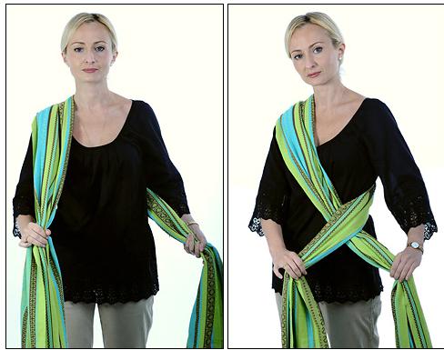 Найдите середину шарфа и положите ее на плечо. Заднюю часть шарфа проведите к противоположному бедру и перекрестите