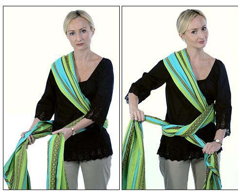 Оберните полотнища вокруг талии и завяжите на противоположном бедре