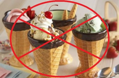 Холодные продукты следует исключить из рациона