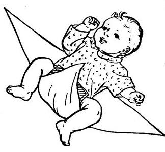 Нижний угол пеленки кладем на животик малышу