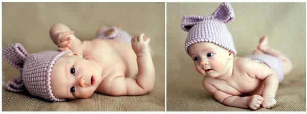 2 кадра переворота ребёнка в сиреневой вязаной шапочке и таких же трусиках