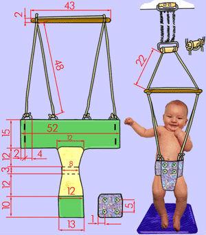 Выкройка прыгунков и схема висящего тренажёра с ребёнком