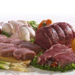 Сырое мясо с овощами