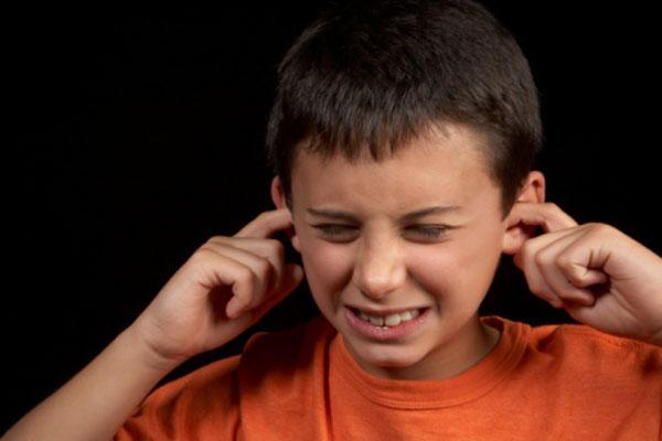 Мальчик заткнул уши от громкого звука