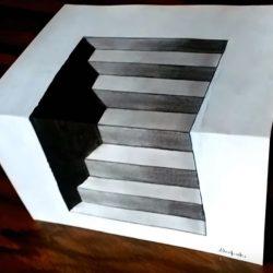 3D лестницы — Как рисовать оптическую иллюзию