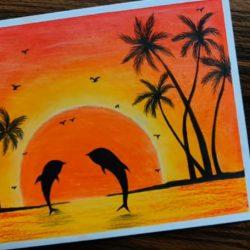 Дельфины на закате — рисунок