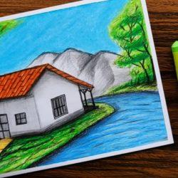 Деревенский домик — рисунок