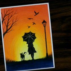 Девушка с собакой - рисунок