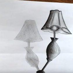 Как нарисовать 3Д настольную лампу