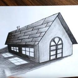 Как нарисовать 3д дом с окнами