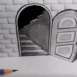 Как нарисовать 3д дверь