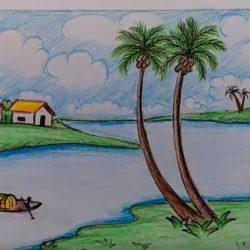 Как нарисовать деревенский пейзаж для детей