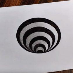 Как нарисовать круглое 3Д отверстие