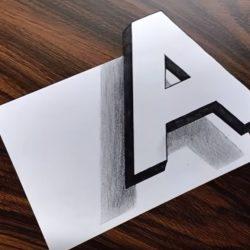 Как нарисовать плавающую 3Д букву А