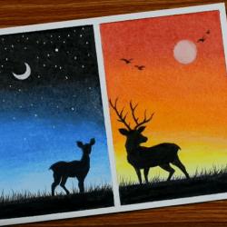 Лунный свет и закат — рисунок