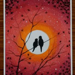 Любовь и птицы — рисунок