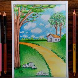 Природа домик — рисунок