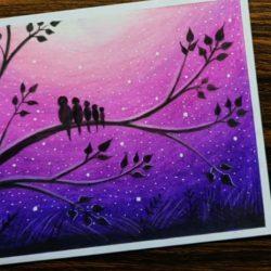 Птички на дереве — рисунок