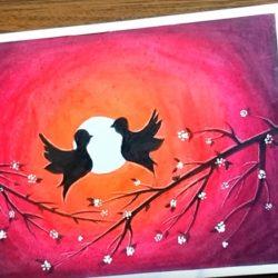 Птички на ветке — рисунок