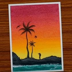 Рисунок — Мальчик с камерой на закате