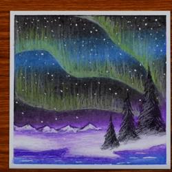 Рисунок — Северное сияние в небе