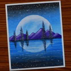Рисунок — озеро в горах