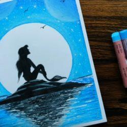 Русалка в лунном свете — рисунок