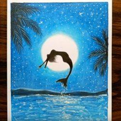 Русалка в ночи — рисунок