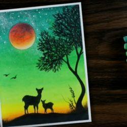 Зеленый закат, олени - рисунок