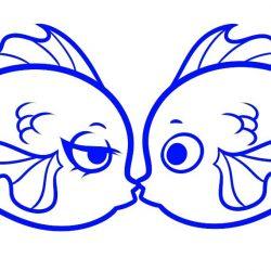 Как нарисовать валентинку с рыбками