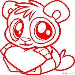 Как нарисовать валентинку панда с сердечком