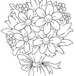 Букеты цветов - раскраски