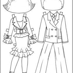 Бумажные куклы - раскраски