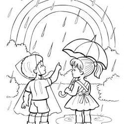 Дождь и облака - раскраски