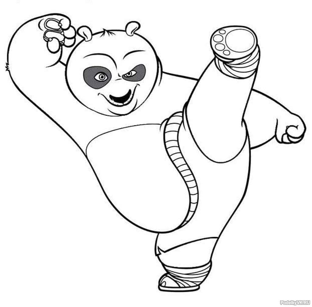 там кунг фу панда раскраска кистью фото