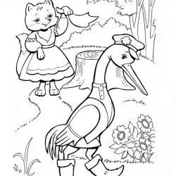 Лиса и журавль - раскраски