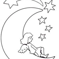 Луна и звёзды - раскраски