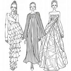 Платья, одежда - раскраски
