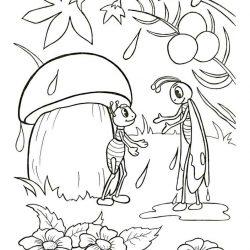 Под грибом - раскраски