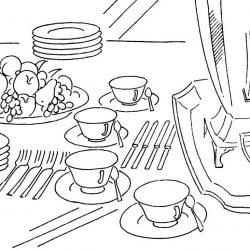 Посуда - раскраски