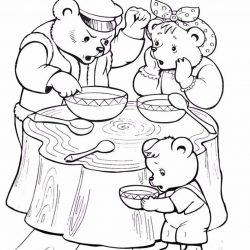 Три медведя — раскраски