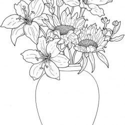 Цветы в вазе - раскраски