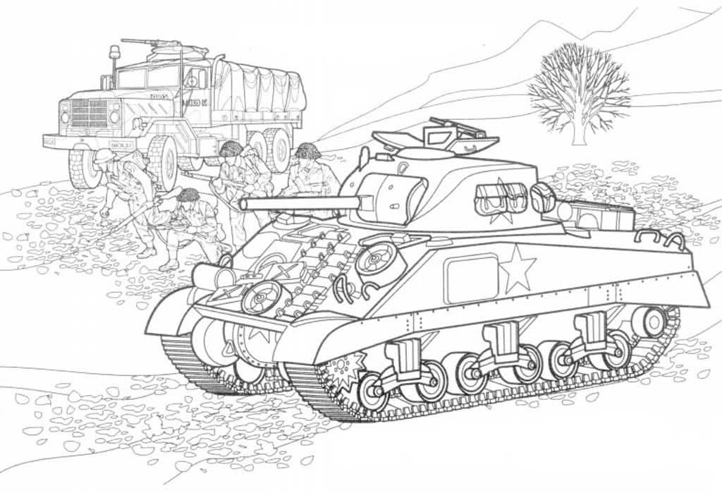 Раскраска для мальчиков танки самолеты и бронемашины