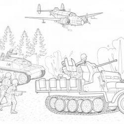 Военная техника — раскраска