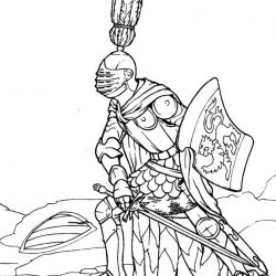 Замки, рыцари - раскраски