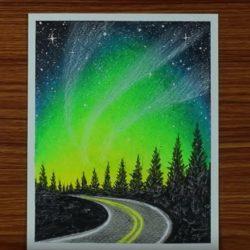 Ночная дорога — рисунок